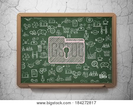 Finance concept: Chalk Pink Folder With Keyhole icon on School board background with  Hand Drawn Business Icons, 3D Rendering