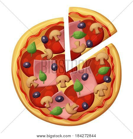 Pizza with sausages, ham, muchrooms, olives. Top view. Cartoon vector icon isolated on white background.