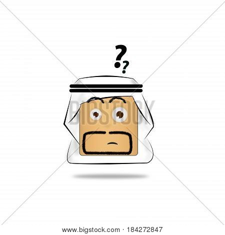confused Arab Man Cartoon Emotion Face. icon funny