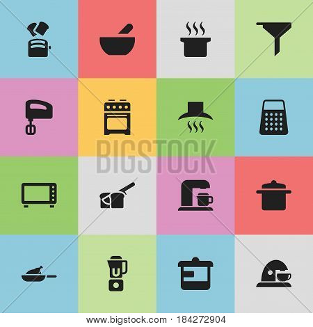 Set Of 16 Editable Cook Icons. Includes Symbols Such As Cookware, Kitchen Hood, Filtering And More. Can Be Used For Web, Mobile, UI And Infographic Design.