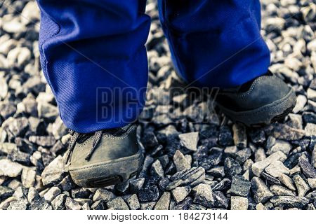 Detail Of Child Legs In Overalls - Boy In Workwear