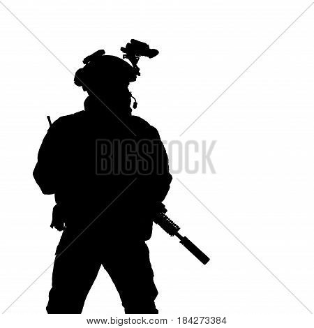 Security forces silhouette with weapon. Studio shot