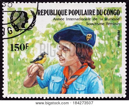CONGO - CIRCA 1985: a stamp printed in Congo shows Lady Olave Baden-Powell Girl Guides Founder circa 1985