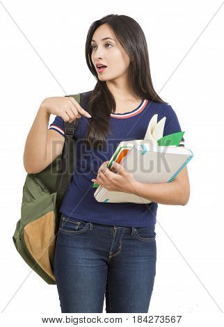 Beautiful Worried young woman with books and backpack on white background
