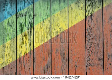 Coloured Rostrum Made Of Wooden Planks