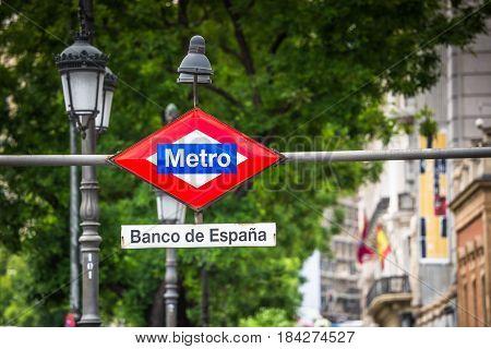 Banco de Espana Metro Station Sign in Madrid Spain
