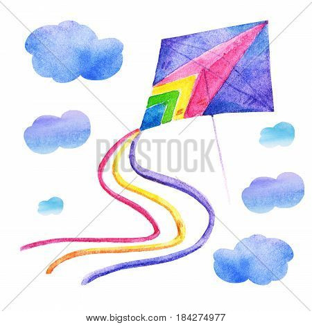 Cute Watercolor colorful kite air set Illustrations isolated on white background. Hand drawn vintage kite with clouds