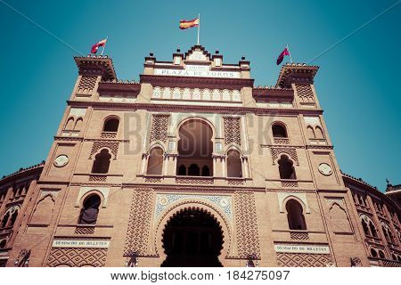 Madrid. Famous bullfighting arena in Madrid. Touristic attraction in Spain.