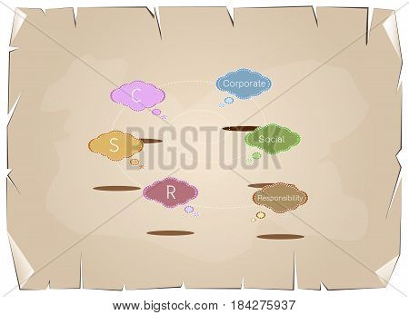 Colorful of Speech Bubbles with CSR or Corporate Social Responsibility Concepts on Old Antique Vintage Grunge Paper Texture Background.
