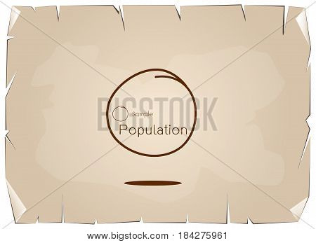 Business and Marketing or Research Process The Sampling Methods of Selecting Sample of Elements From Target Population to Conduct A Survey on Old Antique Vintage Grunge Paper Texture Background.