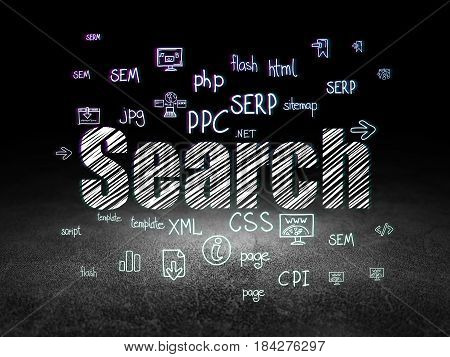 Web development concept: Glowing text Search,  Hand Drawn Site Development Icons in grunge dark room with Dirty Floor, black background