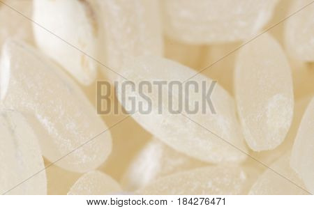 a white rice as a background. macro