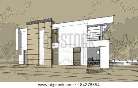3D Rendering Sketch Of Modern Cozy House.