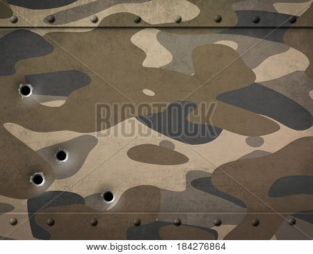 military metal with camouflage and bullet holes 3d illustration