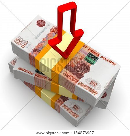 Decrease in income. Packs of Russian rubles tied with a tapes on a white surface with a red arrow pointing downwards. Isolated. 3D Illustration