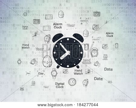 Timeline concept: Painted black Alarm Clock icon on Digital Data Paper background with  Hand Drawing Time Icons