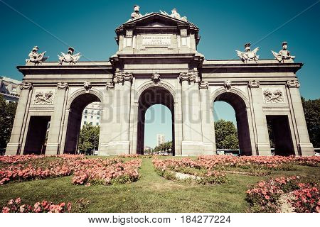 Alcala Gate (Puerta de Alcala) - Monument in the Independence Square in Madrid Spain