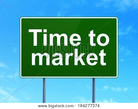 Timeline concept: Time to Market on green road highway sign, clear blue sky background, 3D rendering