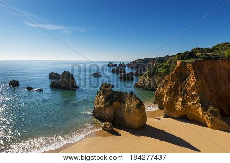 View of the Alemao Beach (Praia do Alemao) in Portimao Algarve Portugal; Concept for travel in Portugal and Algarve