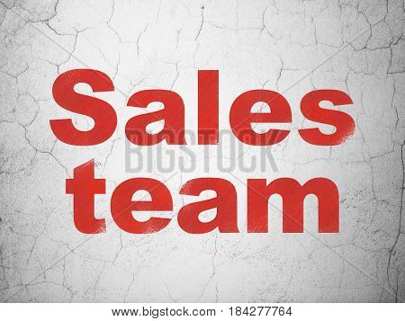 Advertising concept: Red Sales Team on textured concrete wall background