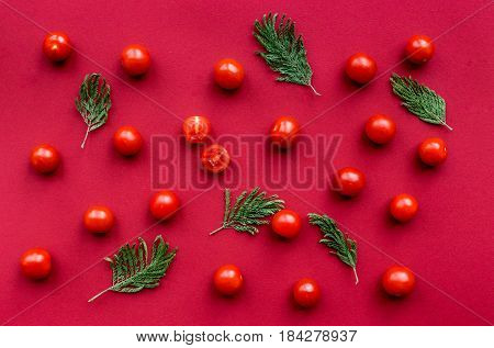red food set with cherry tomatoes for restaurant menu top view pattern