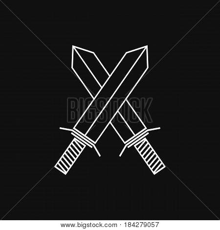 Crossed swords. Battle symbol. Vector linear icon