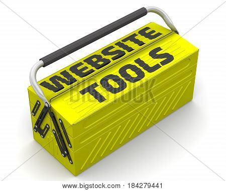 Website tools. Closed yellow tool box on a white surface with text