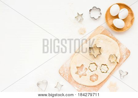 Preparation For Cooking Tasty Cookie. Baking Ingredients On White Kitchen Background. Top View, Flat