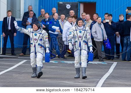 Baikonur, Kazakhstan - April 20, 2017: Cosmonauts Fyodor Yurchikhin and Jack Fisher before the start of the ISS mission