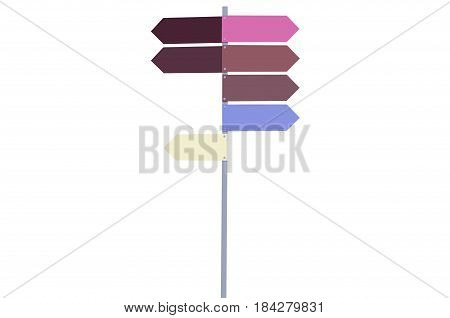 Road signs multicolored without words on white background isolation