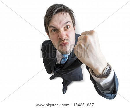 Young Angry Manager Is Threatening With Fist. Isolated On White