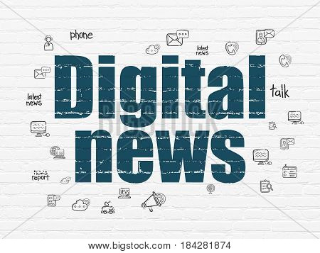 News concept: Painted blue text Digital News on White Brick wall background with  Hand Drawn News Icons