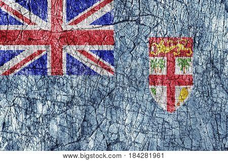 Grudge stone painted Fiji flag close up