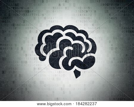 Science concept: Painted black Brain icon on Digital Data Paper background