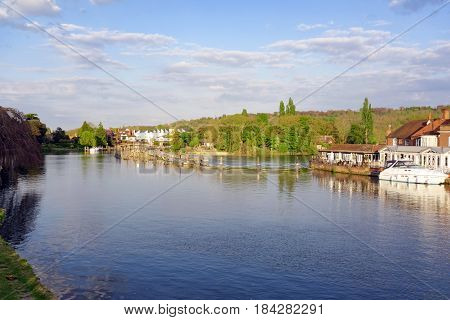 The River Thames at Marlow in Buckinghamshire including the weir to the right