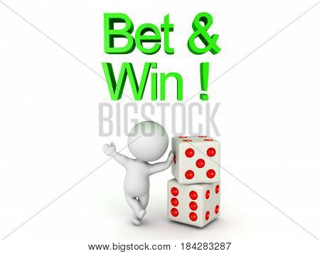 3D Character leaning on a pair of dice with Bet and win text above him. Image can relate to gambling.