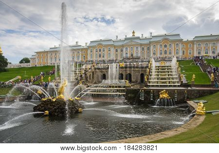 PETERHOF- JULY 07: Samson fountain and Grand Cascade on July 07 2013 Saint-Petersburg Russia. The park ensemble of Peterhof belongs to the world heritage of UNESCO