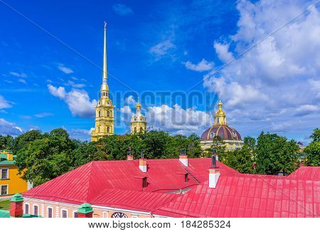 The spire of the Peter and Paul Cathedral and the roof of the Peter and Paul Fortress in St. Petersburg
