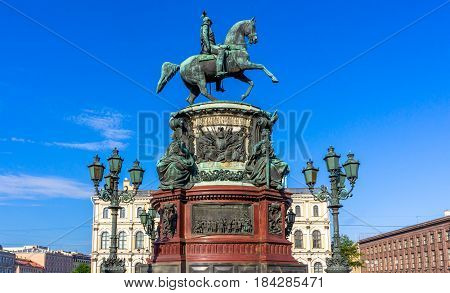 St. Isaac's Square and the monument to Nicholas I (St. Petersburg) made by sculptor P. Kloddt in 1859