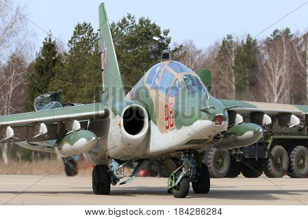 KUBINKA, MOSCOW REGION, RUSSIA - APRIL 21, 2017: Sukhoi Su-25UB attack airplane of Russian air force during Victory Day parade rehearsal at Kubinka air force base.