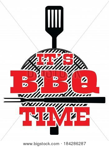 It's BBQ Time - Vector is an illustration of a cookout or bbq design with a grill top, spatula, fork and It's BBQ Time text. Great for cookout or barbecue flyers, invitations or t-shirts.
