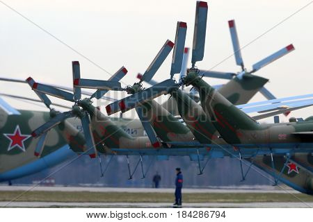 KUBINKA, MOSCOW REGION, RUSSIA - APRIL 24, 2017: Tail rotors of Mil Mi-8AMTSH helicopters of Russian air force during Victory Day parade rehearsal at Kubinka air force base.