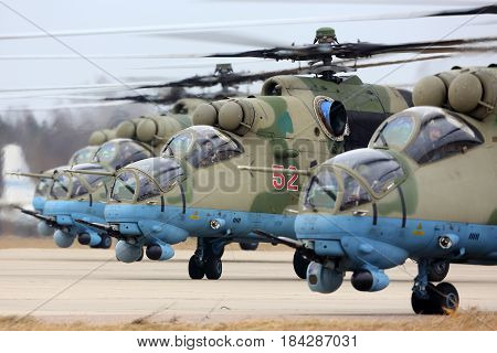 KUBINKA, MOSCOW REGION, RUSSIA - APRIL 10, 2017: Mil Mi-35M RF-13028 attack helicopters of Russian air force during Victory Day parade rehearsal at Kubinka air force base.