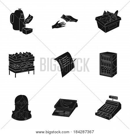 Supermarket, shopping in the store. A selection of pictures on the topic of shopping.Supermarket icon in set collection on black style vector symbol stock web illustration.