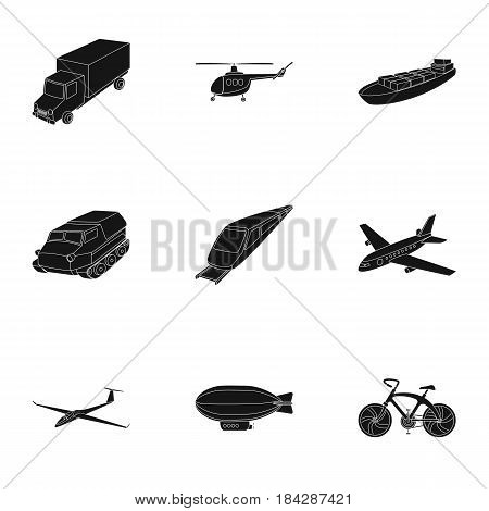 Set of pictures about types of transport. Transportation of people, cargo. Ground, underwater, air transport. Transport icon in set collection on black style vector symbol stock web illustration.