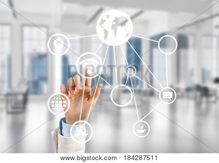 Hand of businesswoman touching icon of user panel on screen