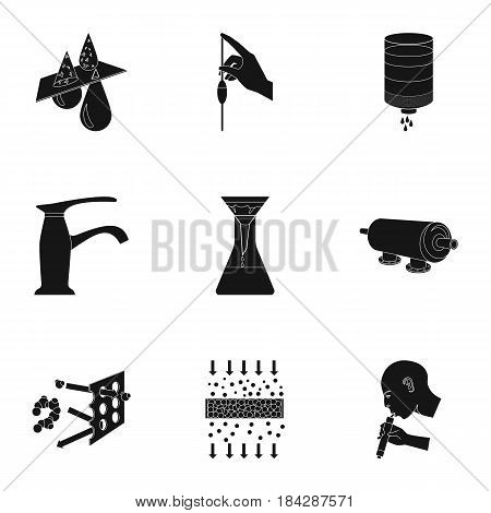 Set of icons on the theme of water. Water is the most important in the world. water filtration icon in set collection on black style vector symbol stock web illustration.