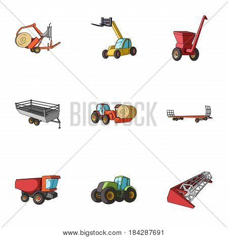 Set of pictures about agricultural machinery. Cars to robots to the ground.Agricultural Machinery icon in set collection on cartoon style vector symbol stock web illustration.