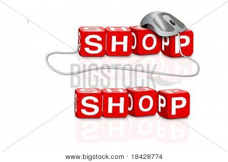 red dices spelling the word shop with or without mouse
