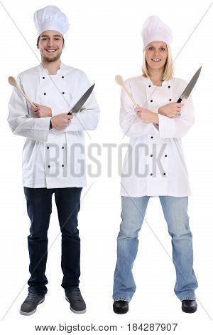 Cook Apprentice Trainee Trainees Cooks Standing Full Body Cooking With Knife Job Young Isolated